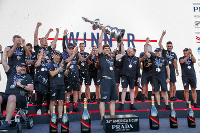 Emirates Team New Zealand celebrating their victory
