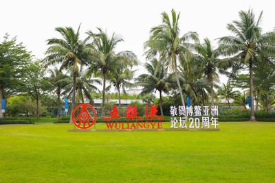 La foto muestra el logotipo de Wuliangye, el fabricante líder de licores de China, en una explanada de la Conferencia Anual del Foro de Boao 2021 para Asia (BFA), celebrada en Hainan, en el sur de China. (PRNewsfoto/Xinhua Silk Road)