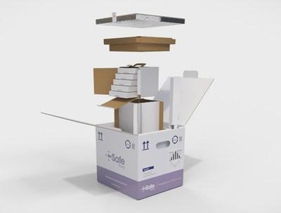 Caja de transporte de doble pared con tecnología de Panel Aislado al Vacío (VIP) con bandejas de viales fabricada por CSafe Global