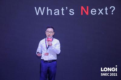 LONGi presentó su nuevo módulo bifacial Hi-MON en la SNEC2021 (PRNewsfoto/LONGi Solar)