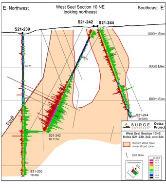 Figure 4. West Seel long section 10NE showing results for holes S21-242 and 244, and the previously reported S21-230. See Figure 1 for section location.
