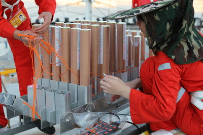 Photo shows the fireworks display team is debugging for the fireworks display. (Photo by Dancing Fireworks)